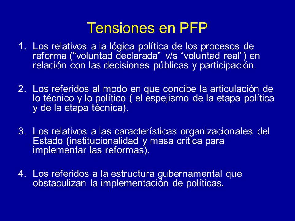 Tensiones en PFP 1.Los relativos a la lógica política de los procesos de reforma (voluntad declarada v/s voluntad real) en relación con las decisiones