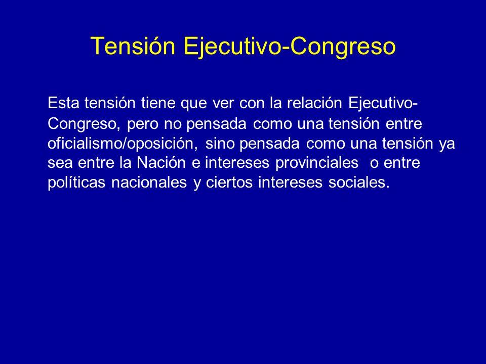 Tensión Ejecutivo-Congreso Esta tensión tiene que ver con la relación Ejecutivo- Congreso, pero no pensada como una tensión entre oficialismo/oposició