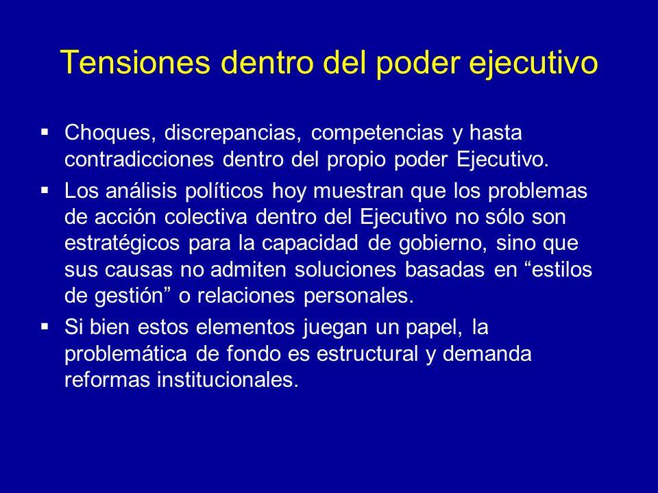 Tensiones dentro del poder ejecutivo Choques, discrepancias, competencias y hasta contradicciones dentro del propio poder Ejecutivo. Los análisis polí