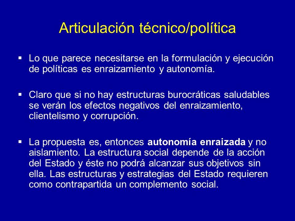 Articulación técnico/política Lo que parece necesitarse en la formulación y ejecución de políticas es enraizamiento y autonomía. Claro que si no hay e