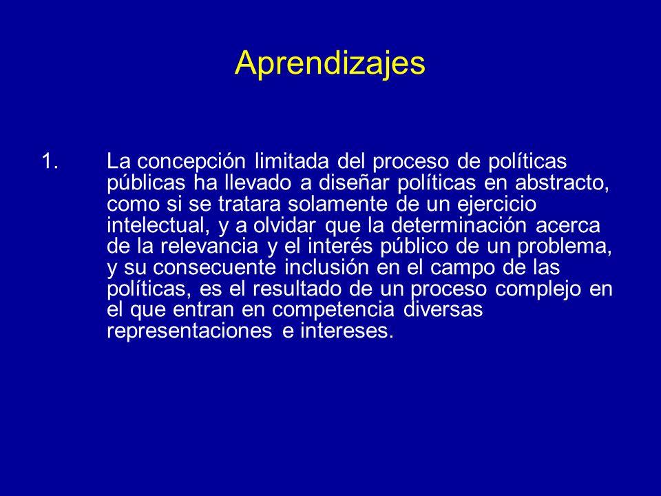 Aprendizajes 1.La concepción limitada del proceso de políticas públicas ha llevado a diseñar políticas en abstracto, como si se tratara solamente de u