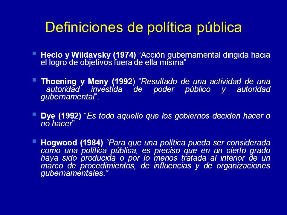 Definiciones de política pública Heclo y Wildavsky (1974) Acción gubernamental dirigida hacia el logro de objetivos fuera de ella misma Thoening y Men