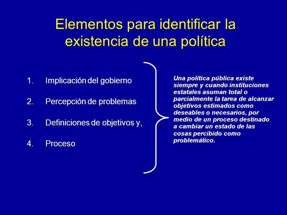 Elementos para identificar la existencia de una política 1.Implicación del gobierno 2.Percepción de problemas 3.Definiciones de objetivos y, 4.Proceso