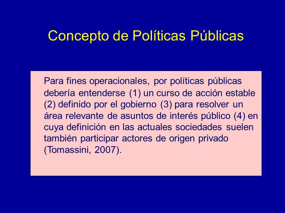 Concepto de Políticas Públicas Para fines operacionales, por políticas públicas debería entenderse (1) un curso de acción estable (2) definido por el