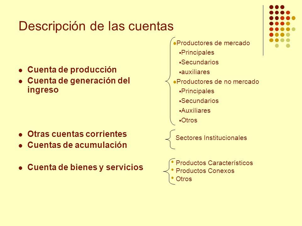 Descripción de las cuentas Cuenta de producción Cuenta de generación del ingreso Otras cuentas corrientes Cuentas de acumulación Cuenta de bienes y se