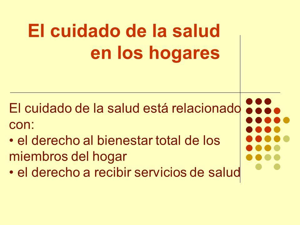 El cuidado de la salud en los hogares El cuidado de la salud está relacionado con: el derecho al bienestar total de los miembros del hogar el derecho