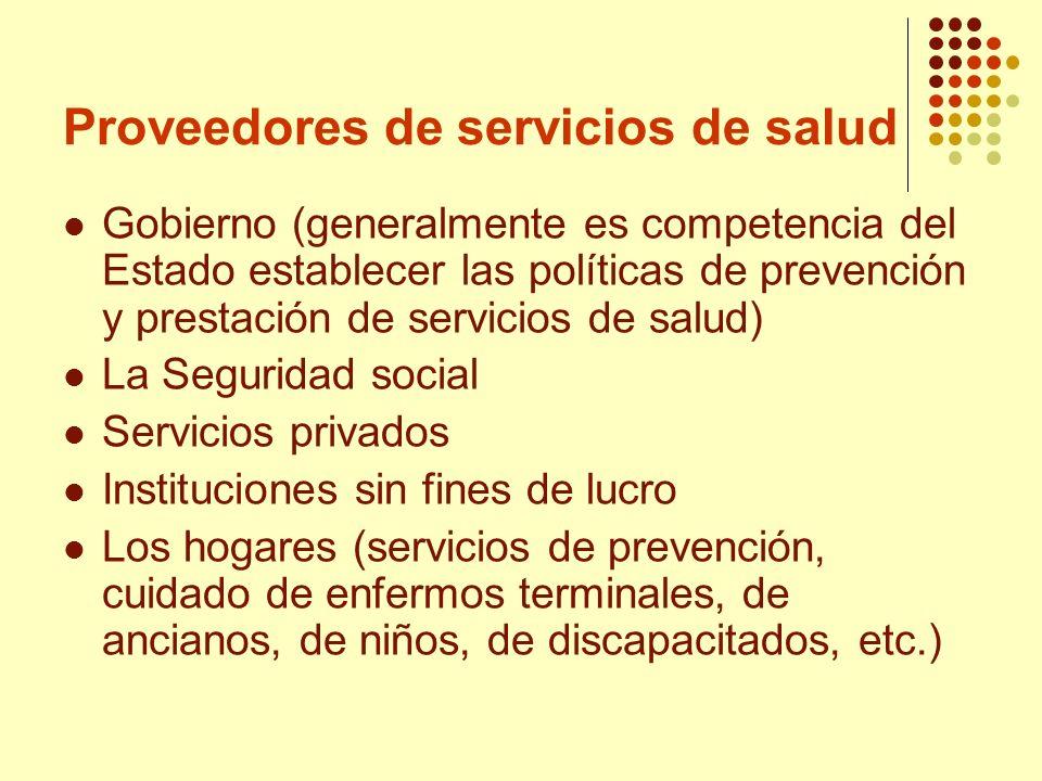 Proveedores de servicios de salud Gobierno (generalmente es competencia del Estado establecer las políticas de prevención y prestación de servicios de