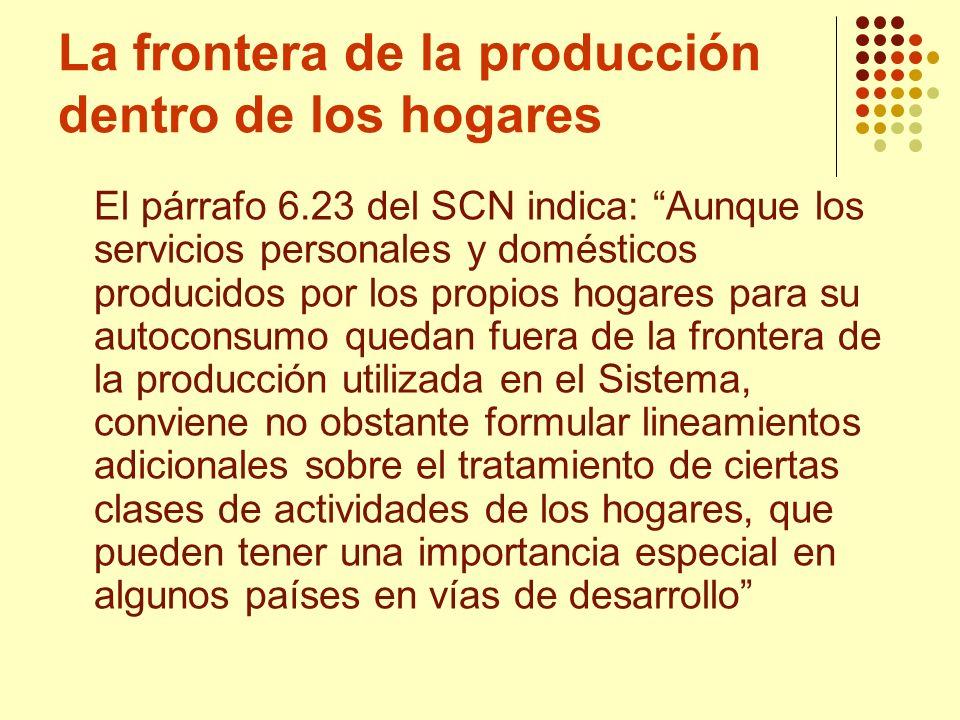 La frontera de la producción dentro de los hogares El párrafo 6.23 del SCN indica: Aunque los servicios personales y domésticos producidos por los pro