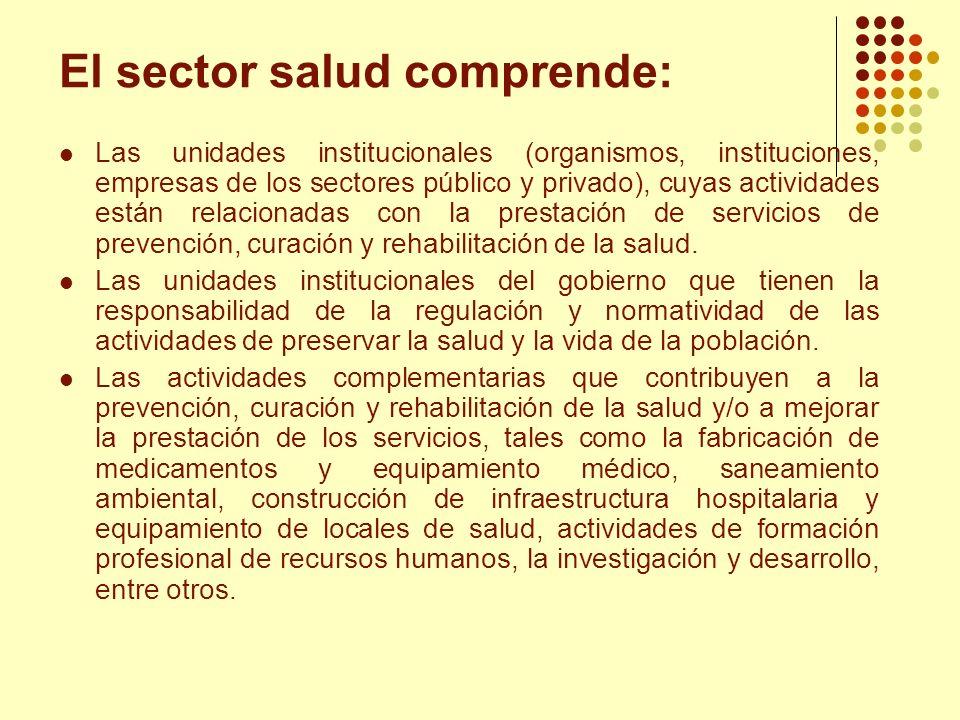 El sector salud comprende: Las unidades institucionales (organismos, instituciones, empresas de los sectores público y privado), cuyas actividades est