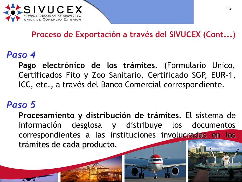 11 Proceso de Exportación a través del SIVUCEX (Cont...) Paso 2 Llenado del Formulario Único de Exportación. El exportador proporcionará: Factura come