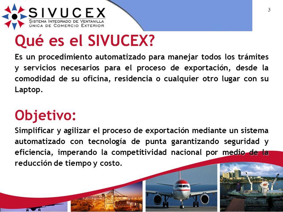 13 Proceso de Exportación a través del SIVUCEX (Cont...) Paso 6 Procesamiento de solicitudes por las instituciones generadoras de trámites.