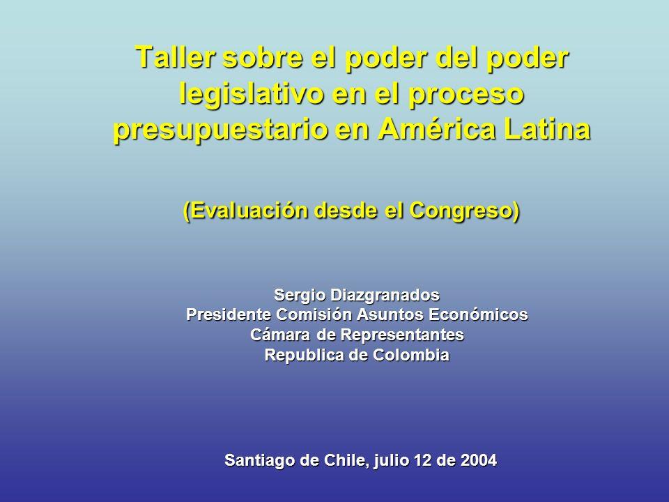 Taller sobre el poder del poder legislativo en el proceso presupuestario en América Latina (Evaluación desde el Congreso) Sergio Diazgranados Presiden