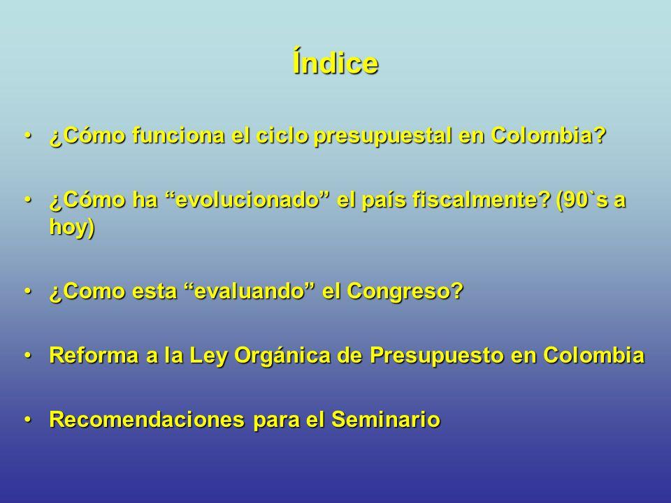 Ciclo Presupuestal en Colombia Programación por el gobierno Presentación al Congreso Estudio y Aprobación Liquidación del presupuesto Ejecución del Presupuesto Seguimiento y evaluación Proceso determinado por una Ley Orgánica Principios: planificación, anualidad, universalidad, unidad de caja, coherencia, Homeostasis, inembargable