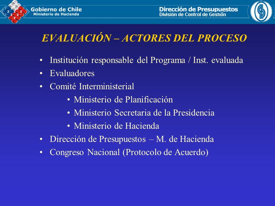 EVALUACIÓN – ACTORES DEL PROCESO Institución responsable del Programa / Inst. evaluada Evaluadores Comité Interministerial Ministerio de Planificación