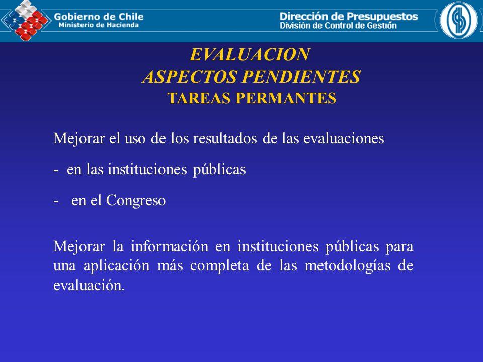 EVALUACION ASPECTOS PENDIENTES TAREAS PERMANTES Mejorar el uso de los resultados de las evaluaciones - en las instituciones públicas -en el Congreso M