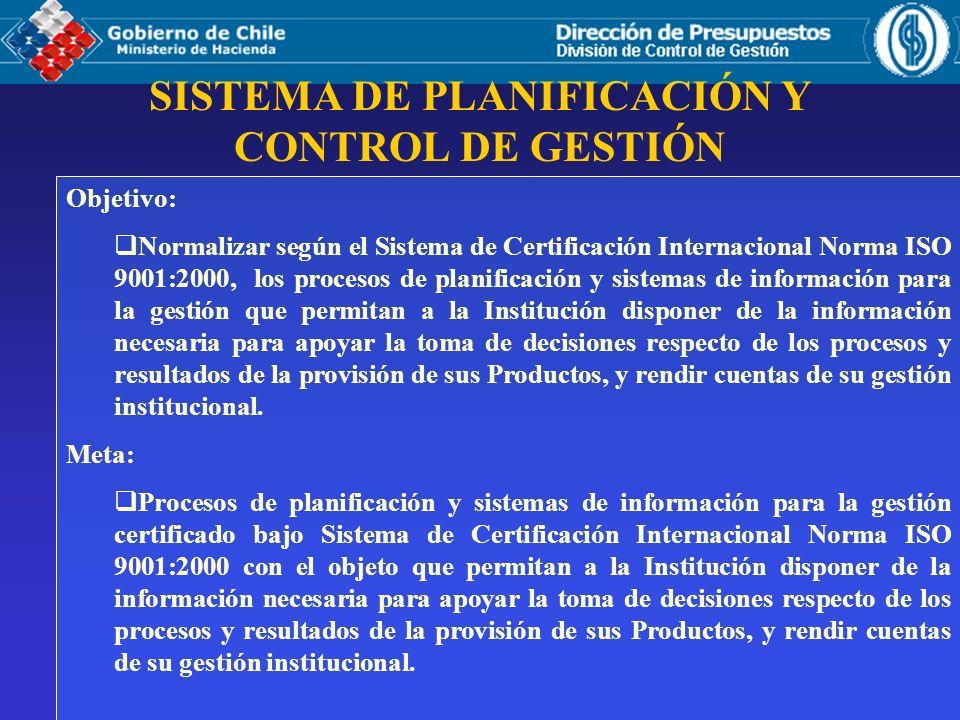 Objetivo: Normalizar según el Sistema de Certificación Internacional Norma ISO 9001:2000, los procesos de planificación y sistemas de información para