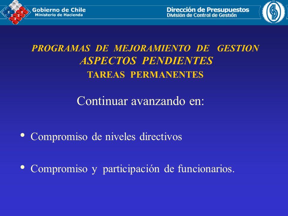 Continuar avanzando en: Compromiso de niveles directivos Compromiso y participación de funcionarios. PROGRAMAS DE MEJORAMIENTO DE GESTION ASPECTOS PEN