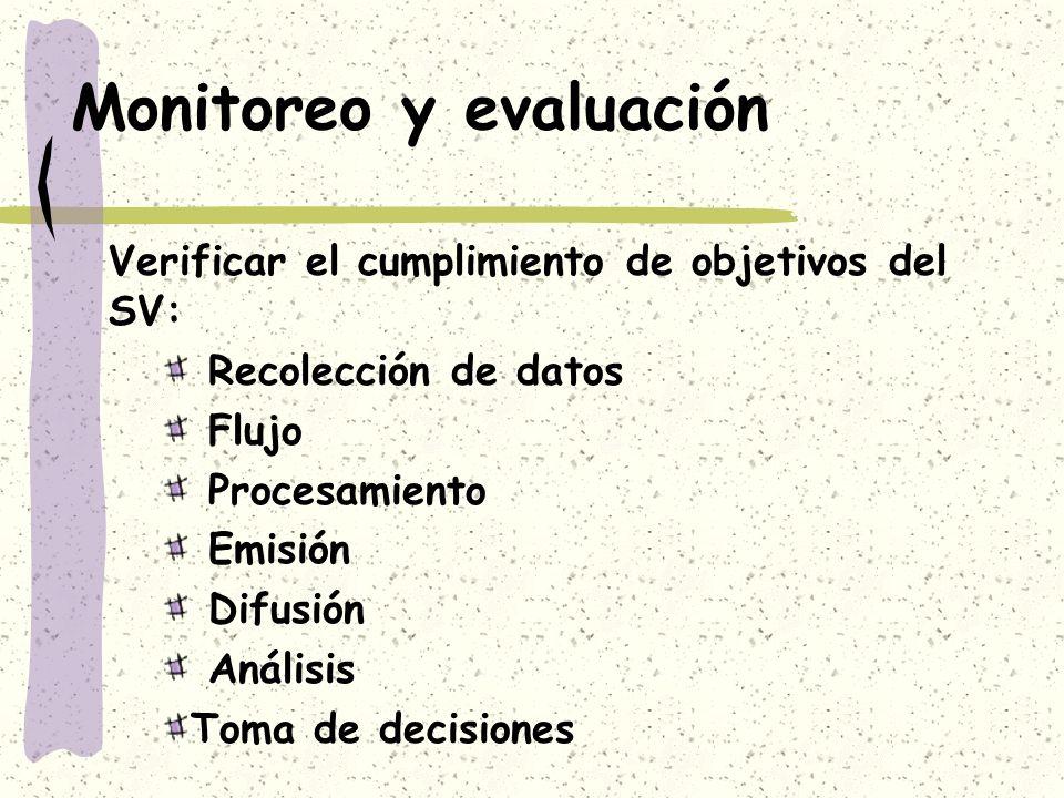 Monitoreo y evaluación Verificar el cumplimiento de objetivos del SV: Recolección de datos Flujo Procesamiento Emisión Difusión Análisis Toma de decis