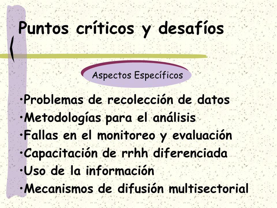 Puntos críticos y desafíos Problemas de recolección de datos Metodologías para el análisis Fallas en el monitoreo y evaluación Capacitación de rrhh di