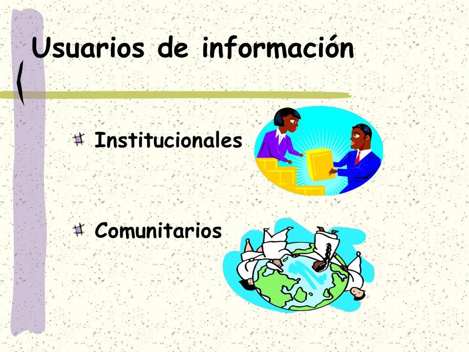 Usuarios de información Institucionales Comunitarios