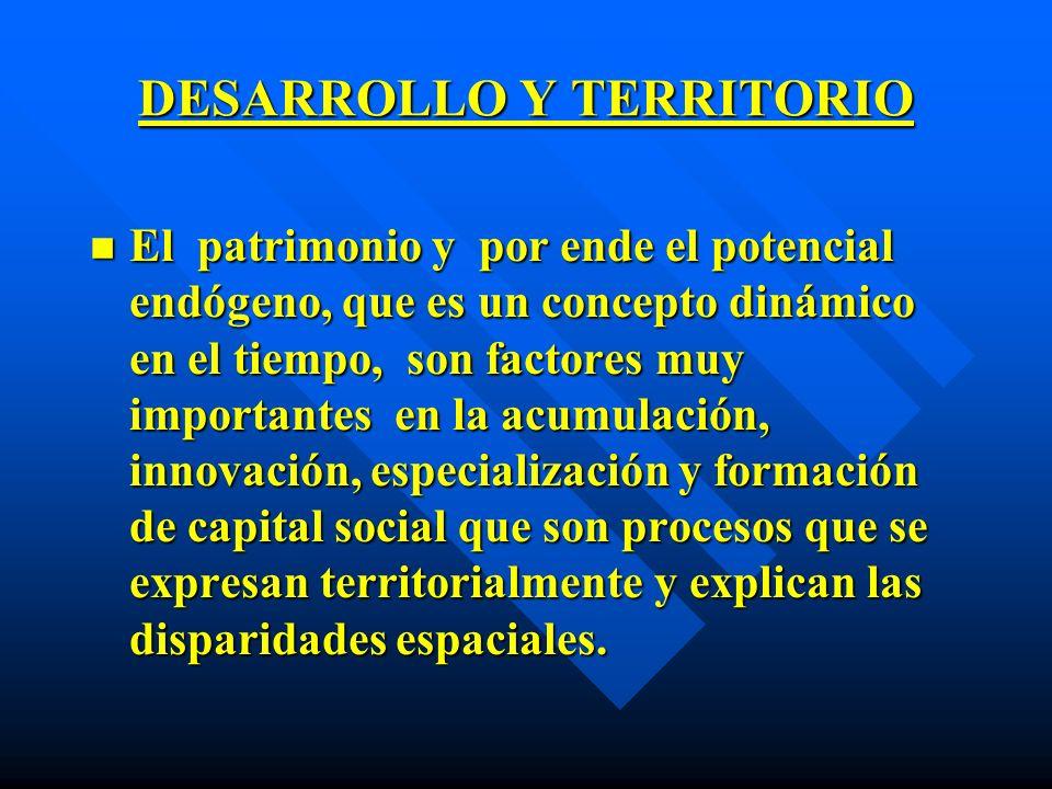 DESARROLLO Y TERRITORIO n El patrimonio y por ende el potencial endógeno, que es un concepto dinámico en el tiempo, son factores muy importantes en la