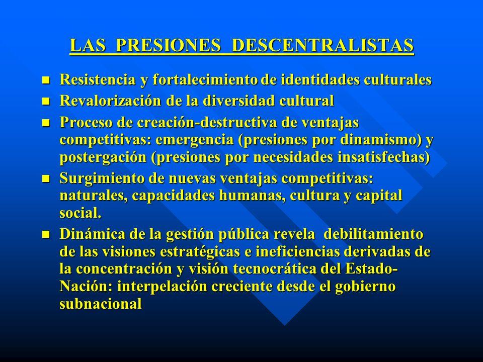 LAS PRESIONES DESCENTRALISTAS n Resistencia y fortalecimiento de identidades culturales n Revalorización de la diversidad cultural n Proceso de creaci