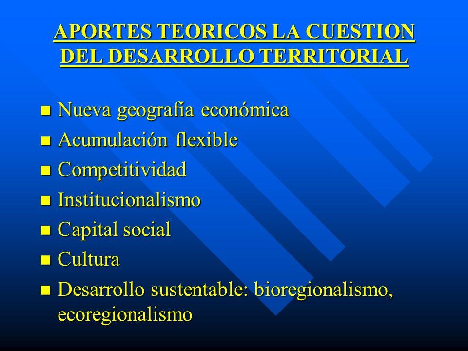 APORTES TEORICOS LA CUESTION DEL DESARROLLO TERRITORIAL n Nueva geografía económica n Acumulación flexible n Competitividad n Institucionalismo n Capi