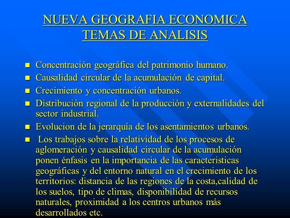 NUEVA GEOGRAFIA ECONOMICA TEMAS DE ANALISIS n Concentración geográfica del patrimonio humano. n Causalidad circular de la acumulación de capital. n Cr