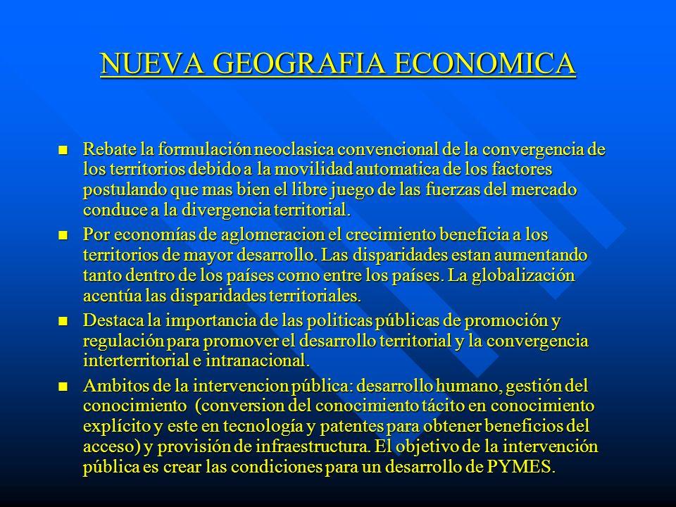 NUEVA GEOGRAFIA ECONOMICA n Rebate la formulación neoclasica convencional de la convergencia de los territorios debido a la movilidad automatica de lo