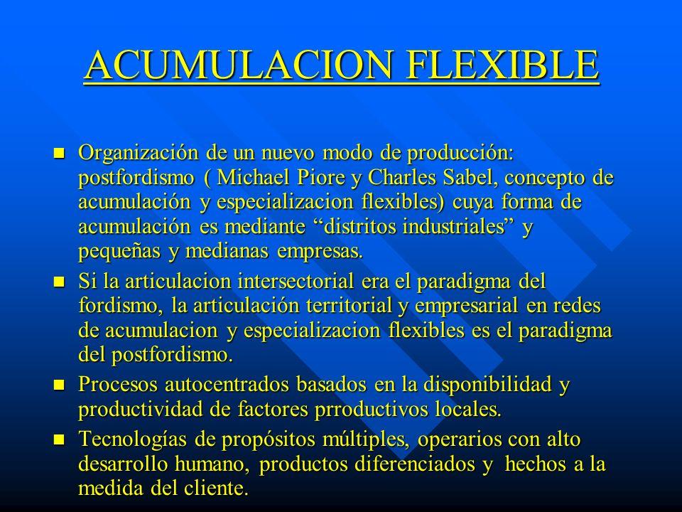 ACUMULACION FLEXIBLE n Organización de un nuevo modo de producción: postfordismo ( Michael Piore y Charles Sabel, concepto de acumulación y especializ