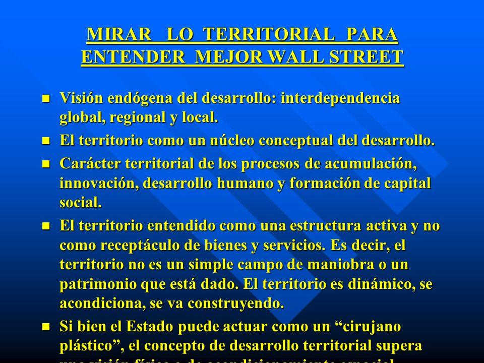 MIRAR LO TERRITORIAL PARA ENTENDER MEJOR WALL STREET n Visión endógena del desarrollo: interdependencia global, regional y local. n El territorio como
