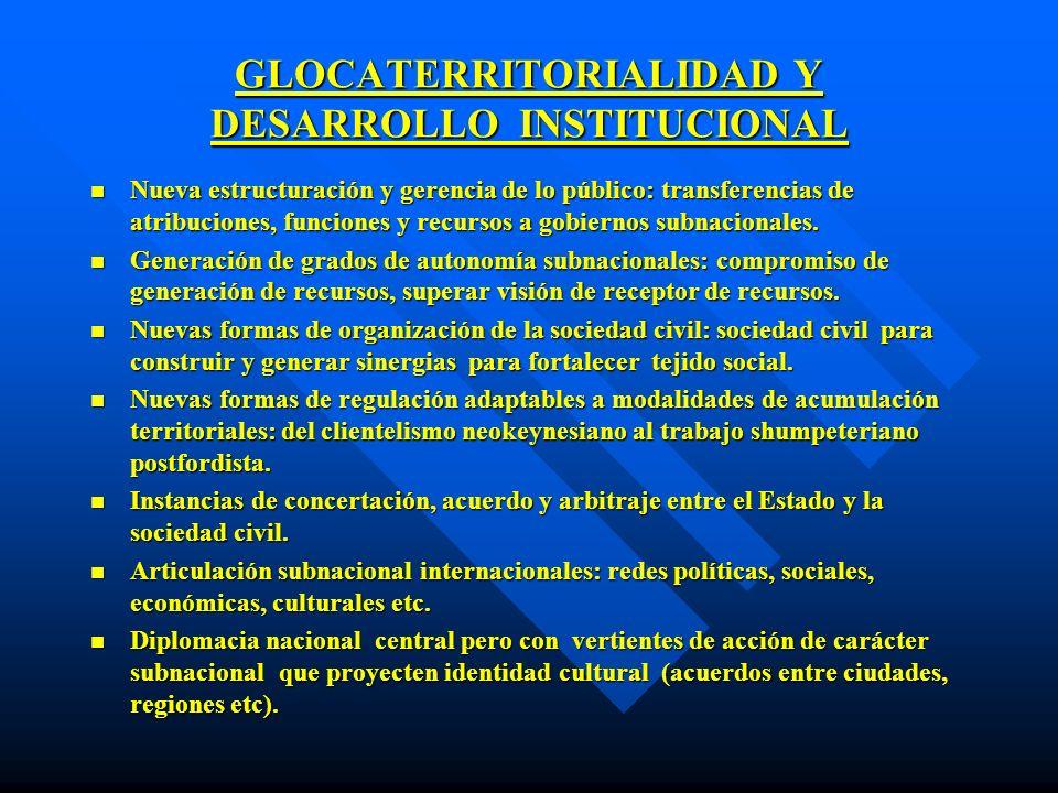 GLOCATERRITORIALIDAD Y DESARROLLO INSTITUCIONAL n Nueva estructuración y gerencia de lo público: transferencias de atribuciones, funciones y recursos