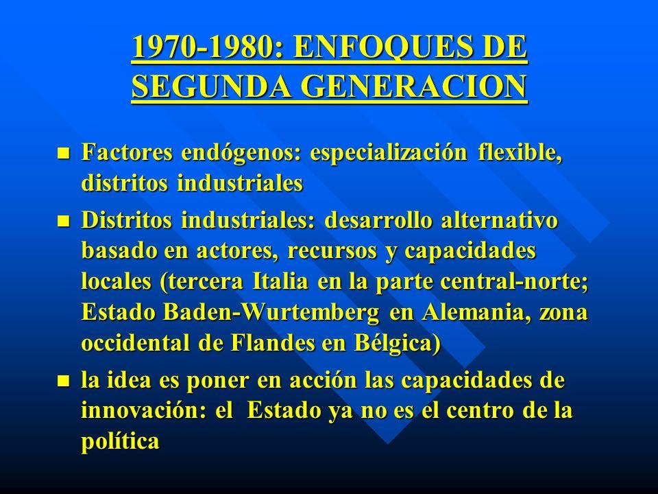 1970-1980: ENFOQUES DE SEGUNDA GENERACION n Factores endógenos: especialización flexible, distritos industriales n Distritos industriales: desarrollo