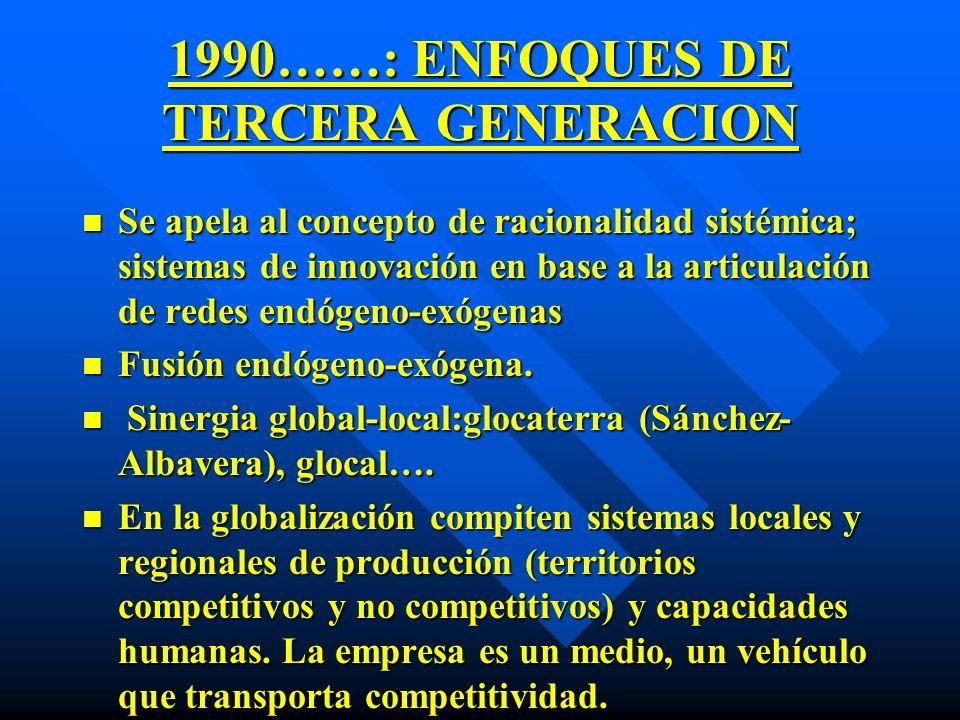 1990……: ENFOQUES DE TERCERA GENERACION n Se apela al concepto de racionalidad sistémica; sistemas de innovación en base a la articulación de redes end