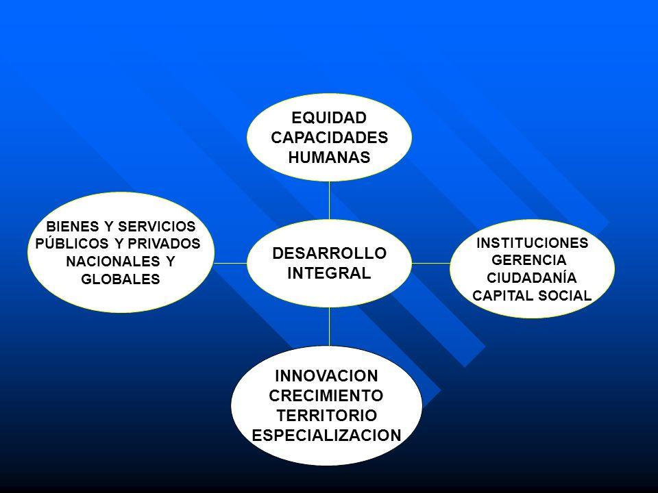 DESARROLLO INTEGRAL INNOVACION CRECIMIENTO TERRITORIO ESPECIALIZACION BIENES Y SERVICIOS PÚBLICOS Y PRIVADOS NACIONALES Y GLOBALES INSTITUCIONES GEREN