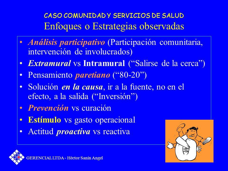 CASO COMUNIDAD Y SERVICIOS DE SALUD Segunda parte En el caso anterior identifique los diferentes enfoques, métodos o estrategias que posibilitaron la