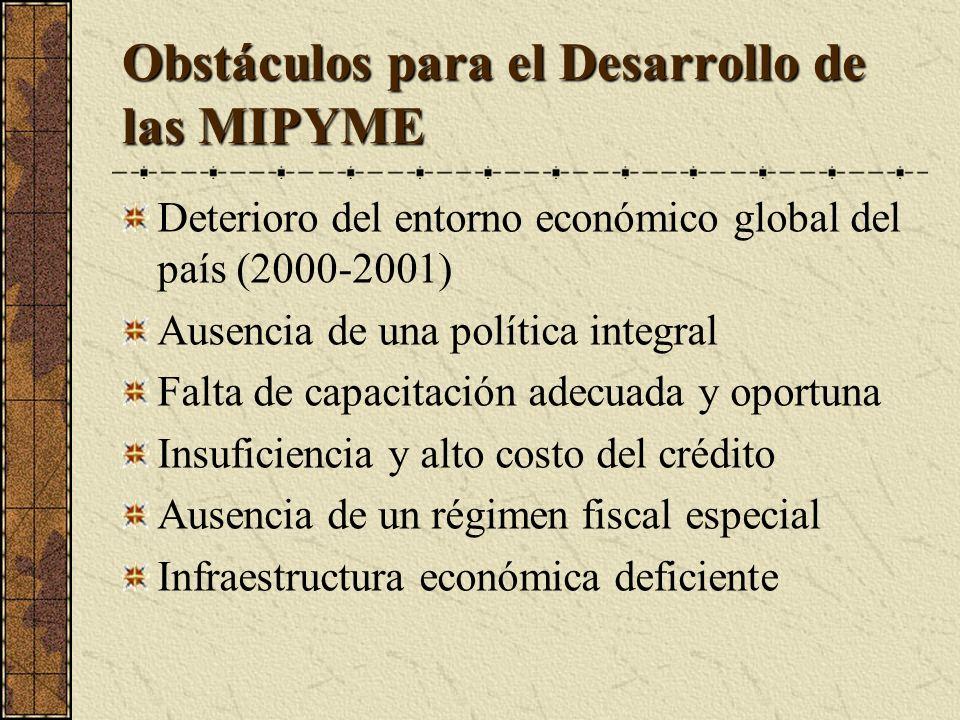 Obstáculos para el Desarrollo de las MIPYME Deterioro del entorno económico global del país (2000-2001) Ausencia de una política integral Falta de capacitación adecuada y oportuna Insuficiencia y alto costo del crédito Ausencia de un régimen fiscal especial Infraestructura económica deficiente