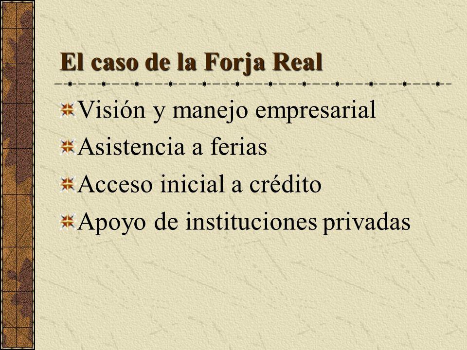 El caso de la Forja Real Visión y manejo empresarial Asistencia a ferias Acceso inicial a crédito Apoyo de instituciones privadas