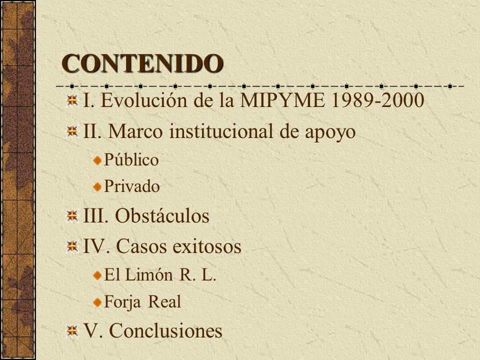 CONTENIDO I. Evolución de la MIPYME 1989-2000 II.