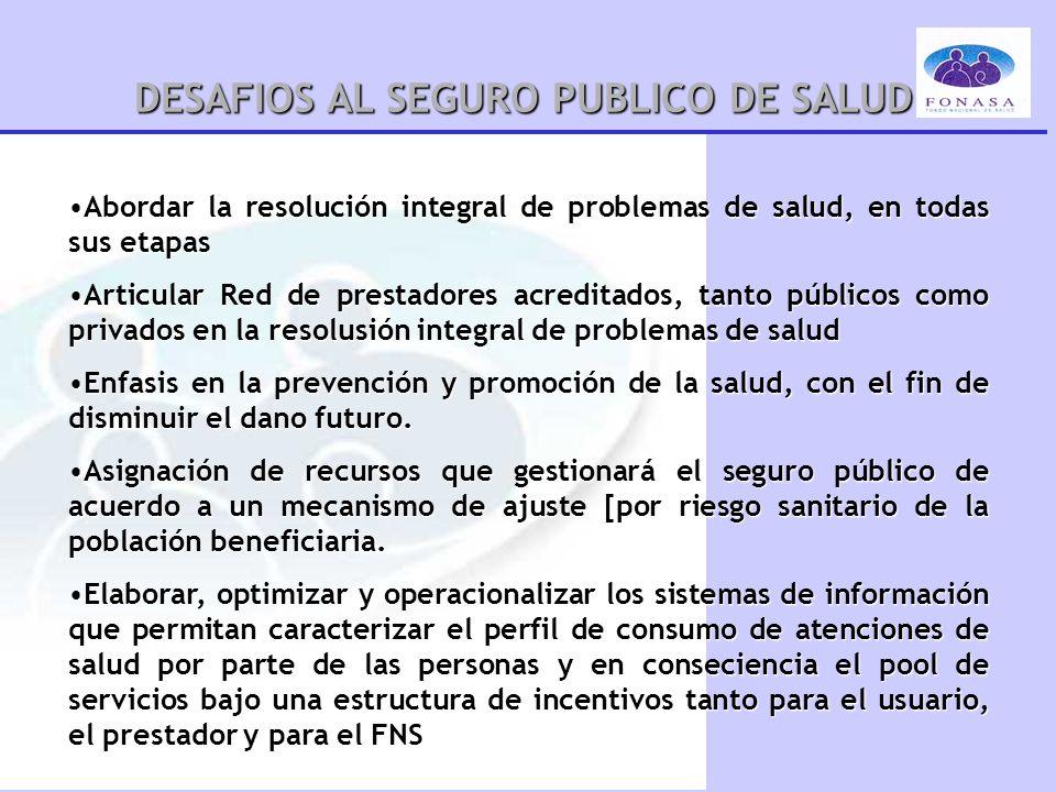 DESAFIOS AL SEGURO PUBLICO DE SALUD Abordar la resolución integral de problemas de salud, en todas sus etapasAbordar la resolución integral de problem