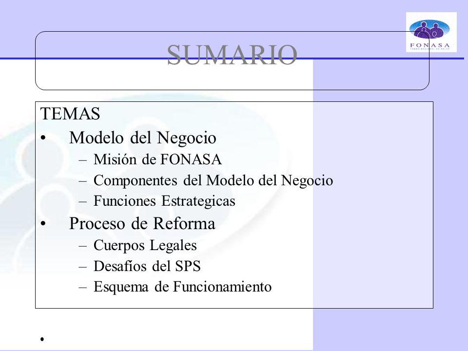 SUMARIO TEMAS Modelo del Negocio –Misión de FONASA –Componentes del Modelo del Negocio –Funciones Estrategicas Proceso de Reforma –Cuerpos Legales –De