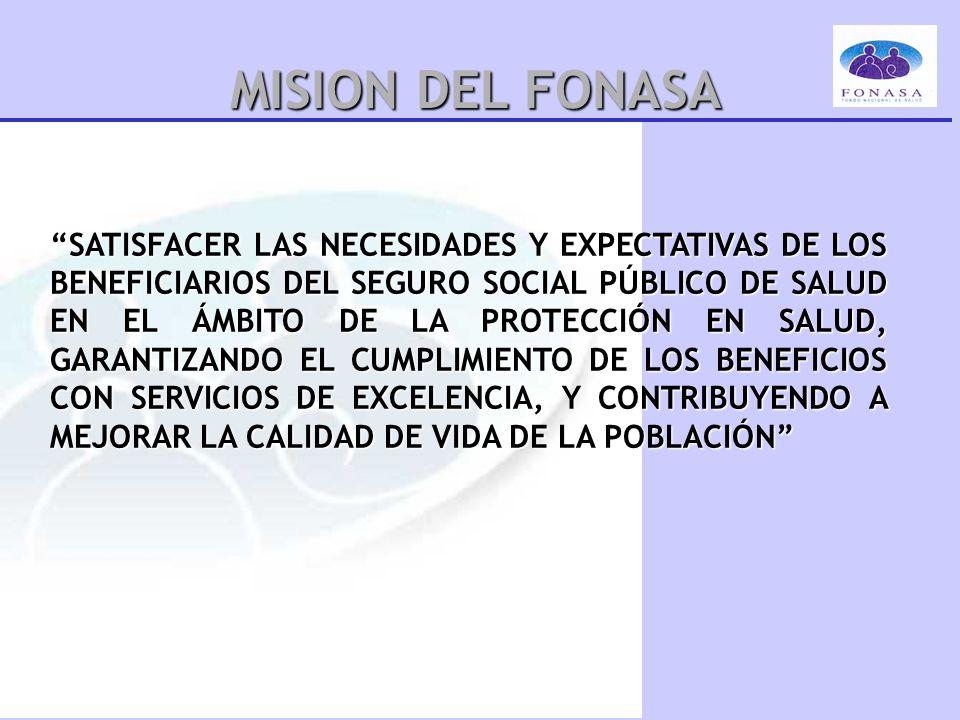 MISION DEL FONASA SATISFACER LAS NECESIDADES Y EXPECTATIVAS DE LOS BENEFICIARIOS DEL SEGURO SOCIAL PÚBLICO DE SALUD EN EL ÁMBITO DE LA PROTECCIÓN EN S