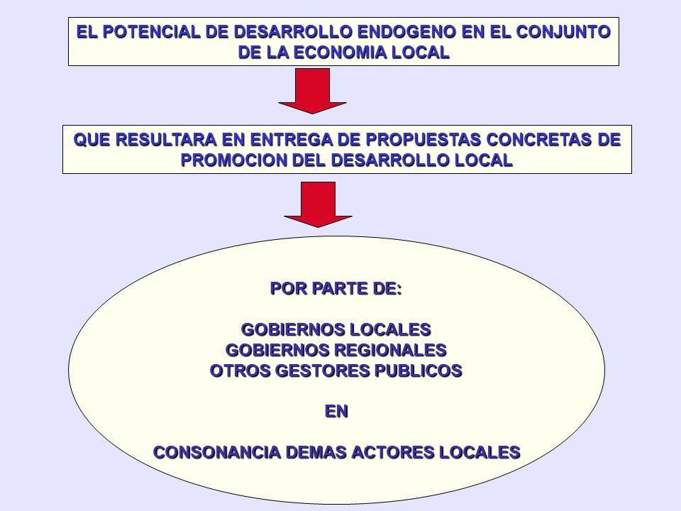 FOMENTO A INICIATIVAS DESARROLLO LOCAL - RECURSOS REALES Y POTENCIALES - TEJIDO EMPRESARIAL Y SUS CARACTERISTICAS - DIFERENTES ACTORES SOCIOECONOMICOS