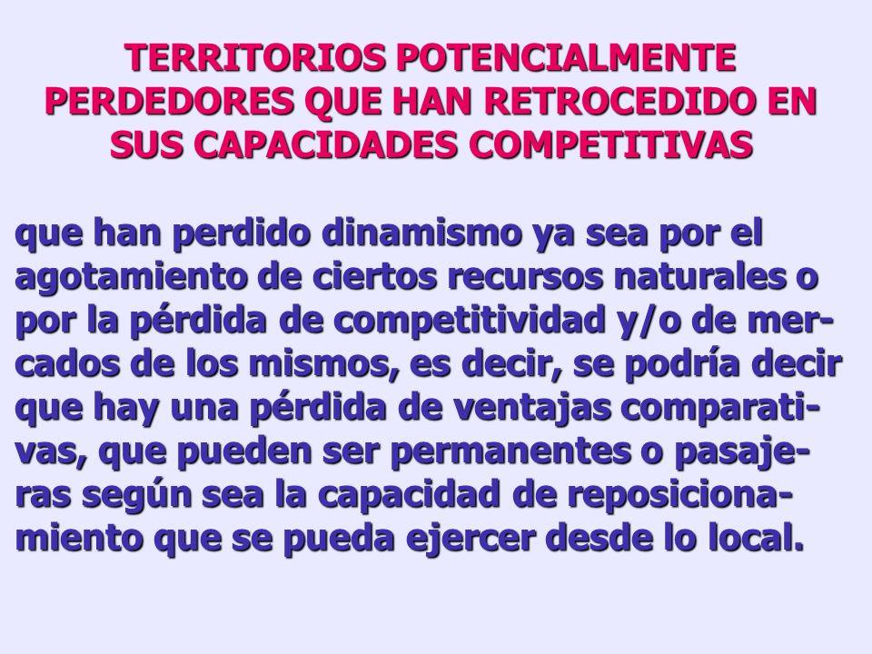 TERRITORIOS POTENCIALMENTE PERDEDORES CON ECONOMÍAS RURALES DE BAJA PRODUCTIVIDAD y con escaso capital humano que no se logran insertar en la economía