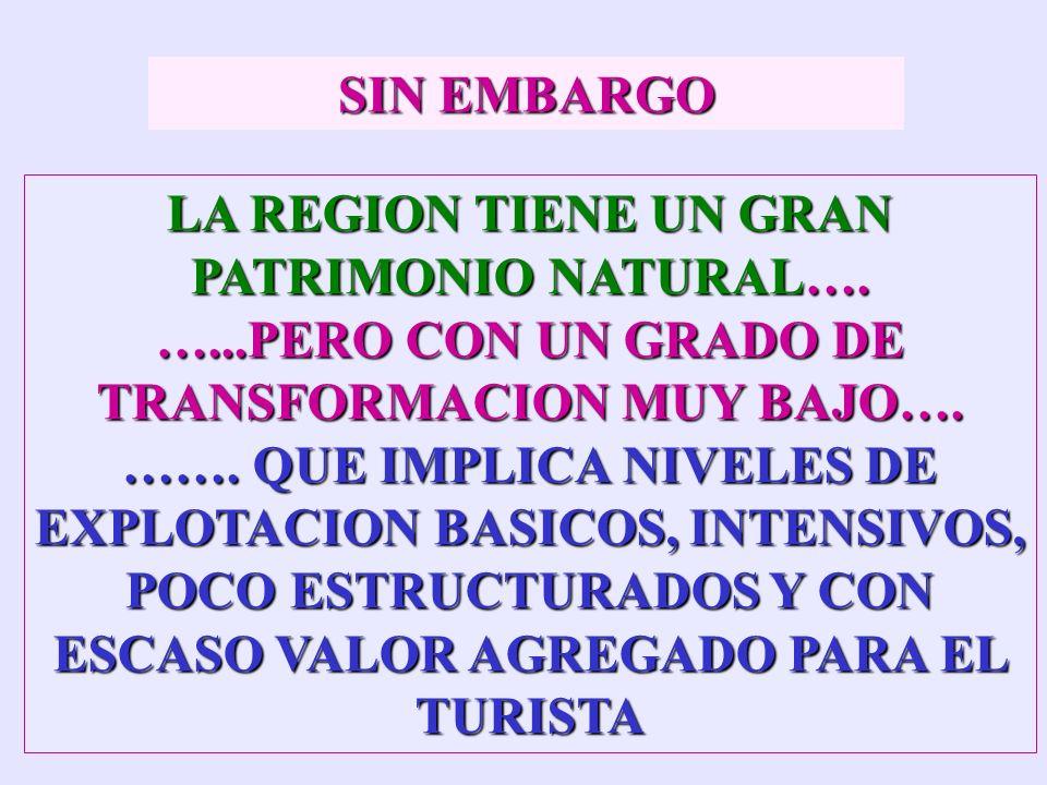 PATRIMONIO TURISTICO: CONJUNTO DE ELEMENTOS MATERIALES E INMATERIALES A DISPOSICIÓN DEL HOMBRE, QUE PUEDEN UTILIZARSE, MEDIANTE UN PROCESO DE TRANSFOR