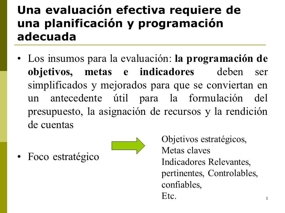1 Los insumos para la evaluación: la programación de objetivos, metas e indicadores deben ser simplificados y mejorados para que se conviertan en un a
