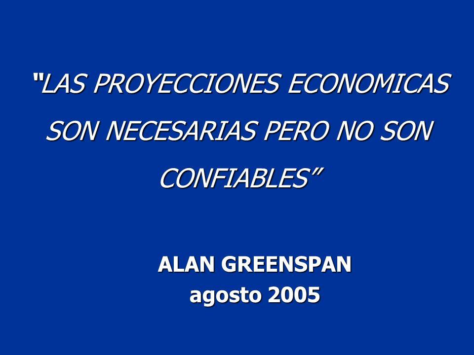 LAS PROYECCIONES ECONOMICAS SON NECESARIAS PERO NO SON CONFIABLESLAS PROYECCIONES ECONOMICAS SON NECESARIAS PERO NO SON CONFIABLES ALAN GREENSPAN agos