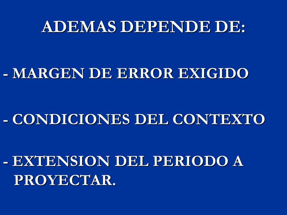 ADEMAS DEPENDE DE: - MARGEN DE ERROR EXIGIDO - CONDICIONES DEL CONTEXTO - EXTENSION DEL PERIODO A PROYECTAR.