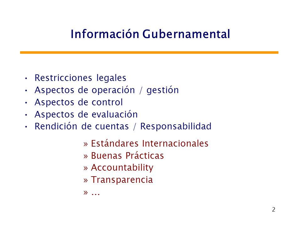 2 Información Gubernamental Restricciones legales Aspectos de operación / gestión Aspectos de control Aspectos de evaluación Rendición de cuentas / Re