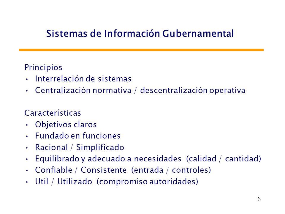 6 Sistemas de Información Gubernamental Principios Interrelación de sistemas Centralización normativa / descentralización operativa Características Ob